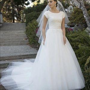 Dresses & Skirts - Cute Lace tulle custom made Modest Wedding Dress